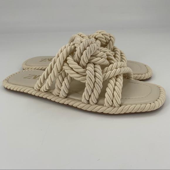 Zara Low Heel Knotted Rope Square Toe Slide Sandal